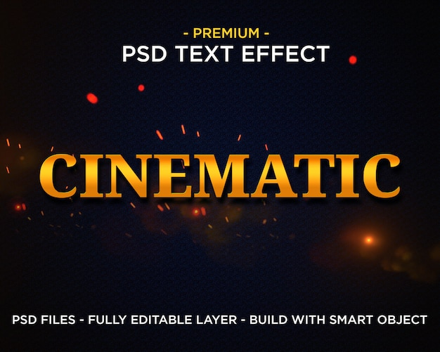 Cinematic gold premium photoshop psd-formatvorlagen texteffekt