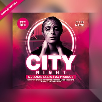 City night party flyer