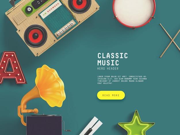 Classic music hero / header benutzerdefinierte szene