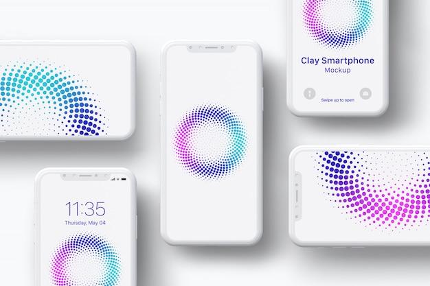 Clay smartphone-bildschirm mockup - zusammensetzung
