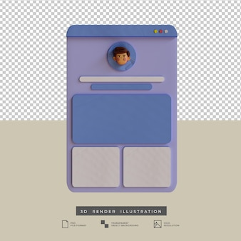 Clay style social media profil app design 3d-darstellung