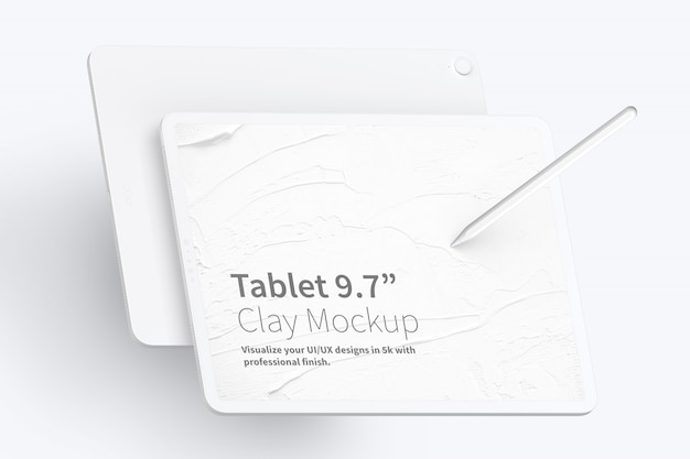 """Clay tablet pro 12.9 """"mockup, querformat vorder- und rückansicht Premium PSD"""