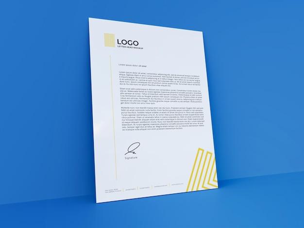 Clean letterhead mockup 3d-rendering