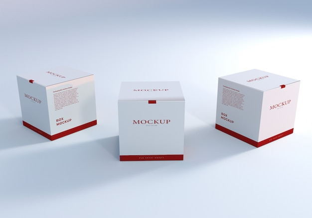 Clean package boxes mockup