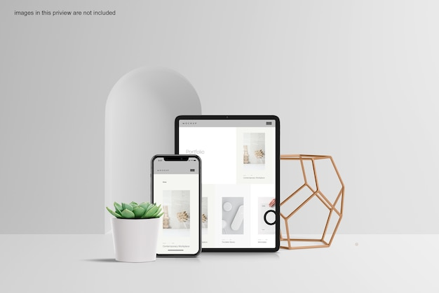 Clean tablet & smartphone mockup