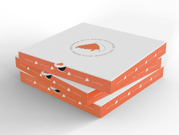 Closed pizzas boxes mockup