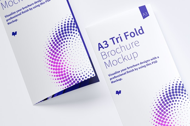 Closed trifold brochure mockup