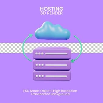 Cloud-hosting-konzept. 3d-darstellung