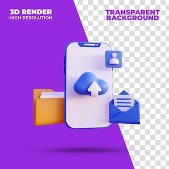 Cloud-speicher smartphone 3d-rendering