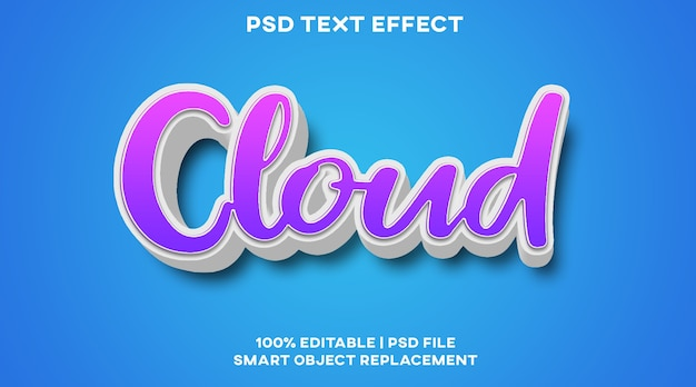 Cloud-texteffekt-stilvorlage