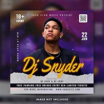 Club dj party flyer social media post und bannervorlage