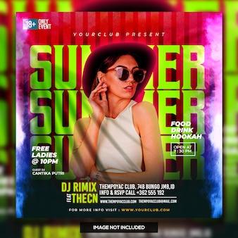 Club dj party flyer social media post und web-banner