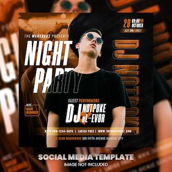 Club dj party flyer social media post und webbanner premium psd premium psd