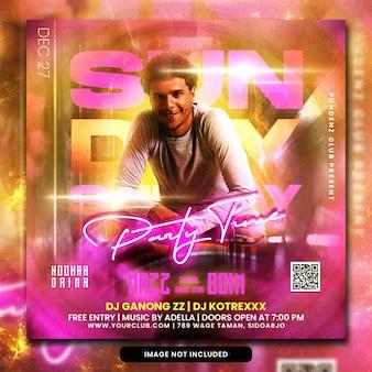Club dj party flyer social media post und webbanner psd