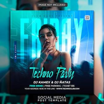 Club dj party flyer social media post und webbanner vorlage