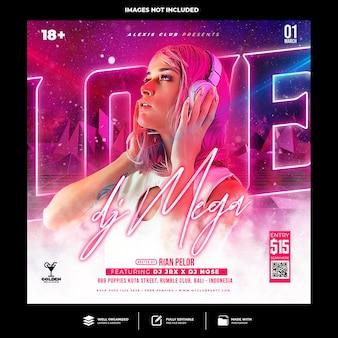 Club dj party flyer social media post und webbanner