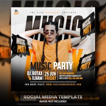 Club dj party neujahrsflyer social media post