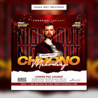 Club dj party square flyer vorlage