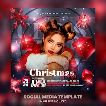 Club dj party weihnachtsflyer social media post