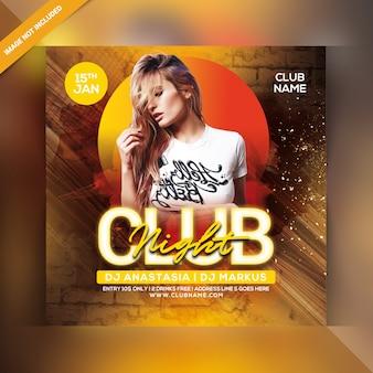 Club nacht party flyer vorlage