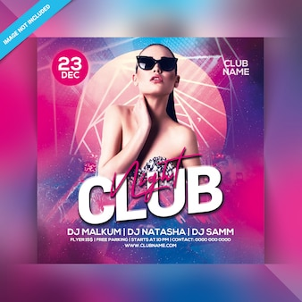 Club nacht party flyer
