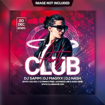 Club nacht party quadrat flyer vorlage