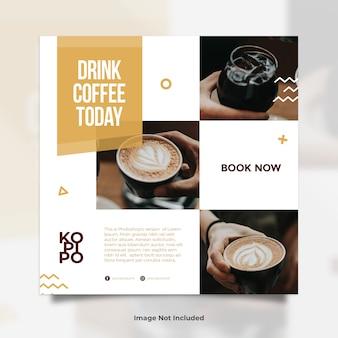 Coffee shop collase foto social media post