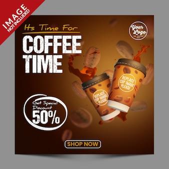 Coffee shop social media post promotion vorlage premium psd