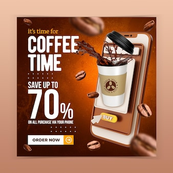 Coffeeshop getränkemenü förderung social media instagram post banner vorlage
