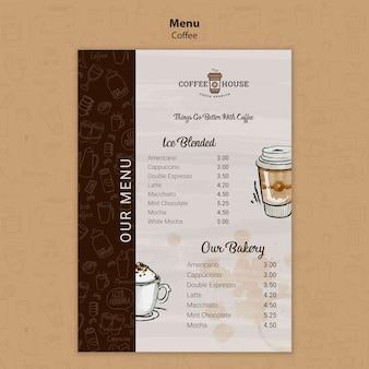 Coffeeshop-menüvorlage mit handgezeichneten elementen