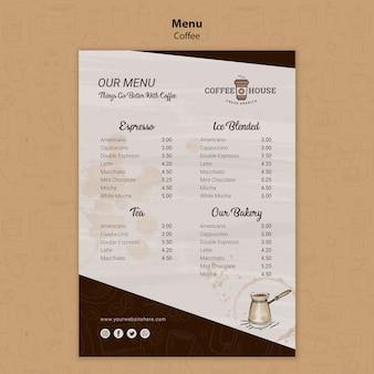 Coffeeshop-menüvorlage