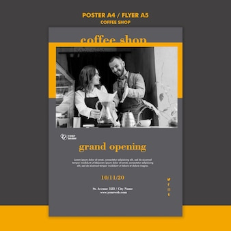 Coffeeshop-plakatschablonenkonzept