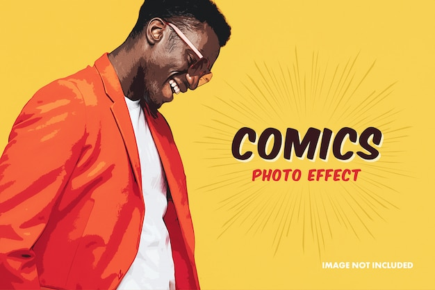 Comic photo effect mockup