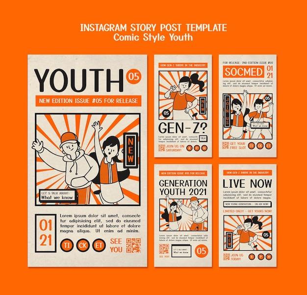 Comic-stil instagram story post vorlage