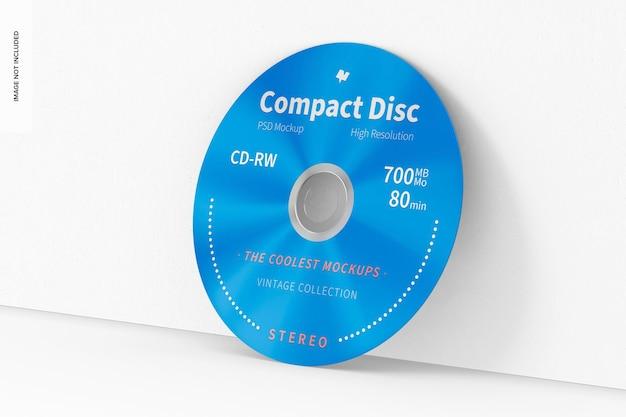 Compact disc mockup, gelehnt