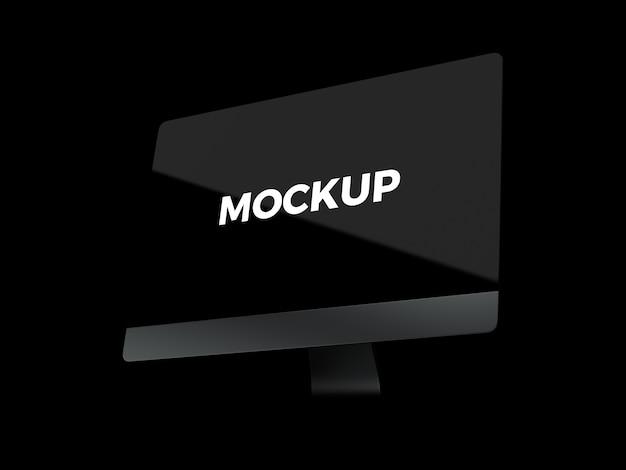 Computer auf schwarzem hintergrund mock up