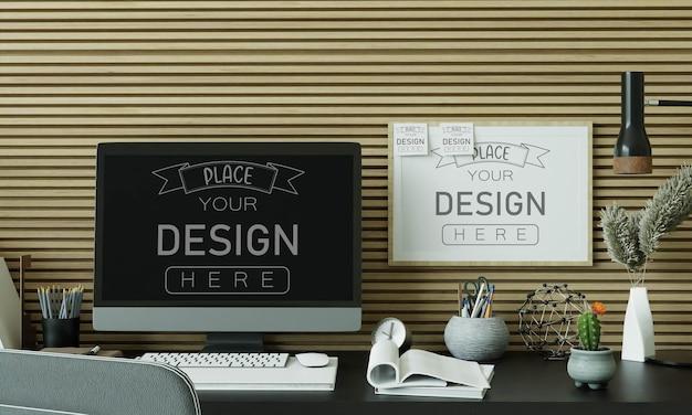 Computer auf tisch im arbeitsbereich mockup