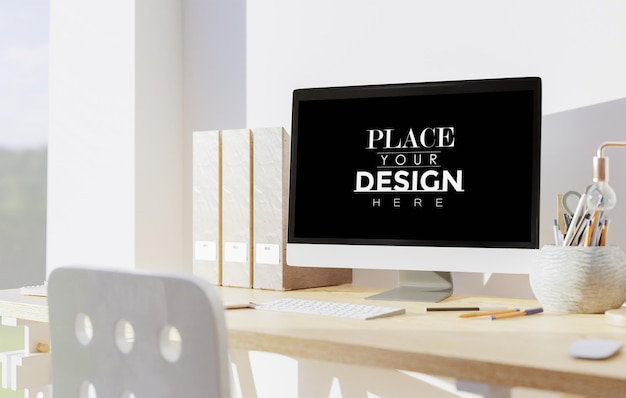 Computer auf tisch im arbeitsbereich modell