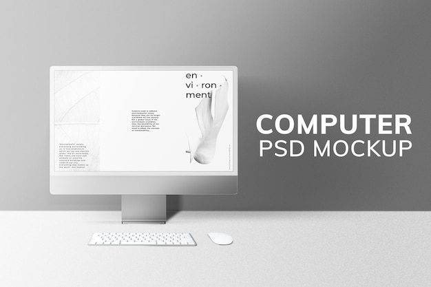 Computer-desktop-bildschirm mockup psd grau digitales gerät minimaler stil