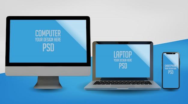 Computer, laptop und smartphone mock up premium psd