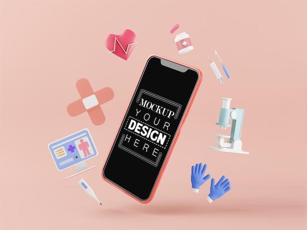Computer-modell des smartphones mit leerem bildschirm und medizinischen symbolen