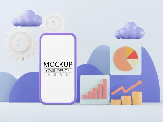 Computer-modell des smartphones mit leerem bildschirm und statistik