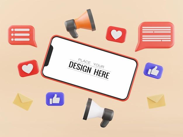 Computer-modell des smartphones mit leerem bildschirm und symbolen für soziale medien
