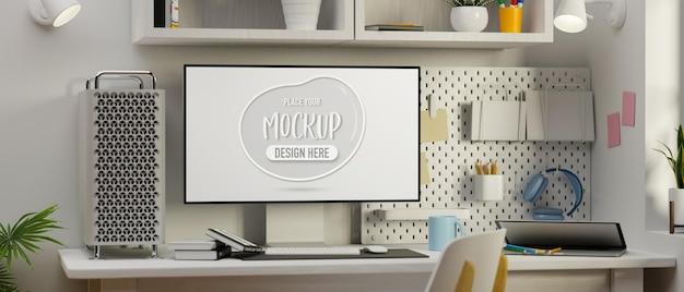 Computer modell raum briefpapier und lieferungen in weißem konzept büro schreibtisch 3d-rendering