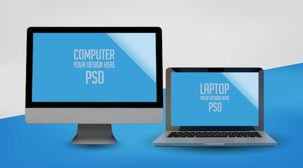 Computer und laptop mock up premium psd