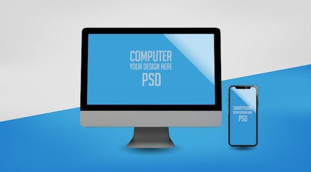 Computer und smartphone mock up premium psd