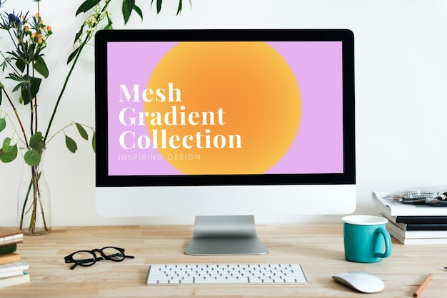 Computerbildschirm-mockup-psd mit mesh-farbverlauf-design