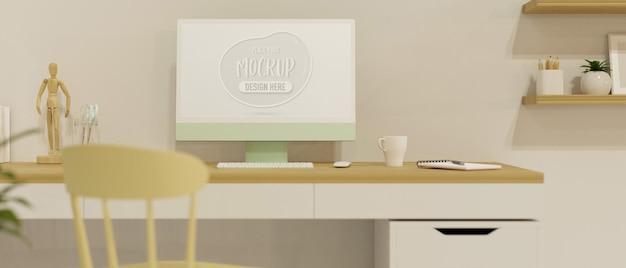 Computergerät auf dem tisch im heimarbeitsraum mit dekorationen