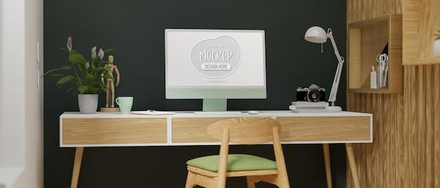 Computermonitor mit mockup-bildschirm auf holzschreibtisch im stilvollen home-office-raum 3d-rendering 3d-darstellung