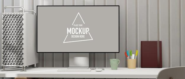 Computermonitor mit mockup-bildschirm auf weißem tisch mit cpu-gehäuse und schreibwaren 3d-rendering